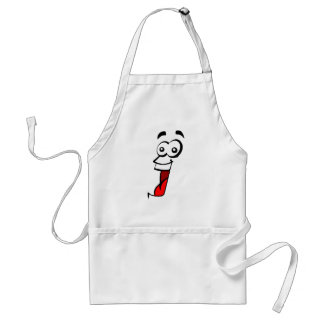 wide eyed crazy open mouth smile face adult apron
