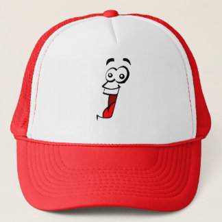 wide eyed crazy open mouth smile face trucker hat