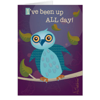 Wide-Eyed Owl in Moonlight Greeting Card