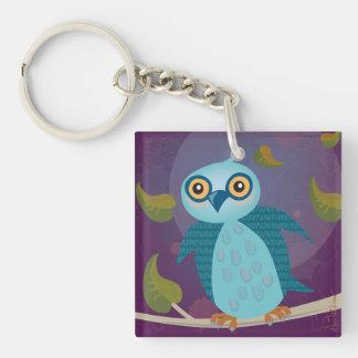 Wide-Eyed Owl in Moonlight Keychain