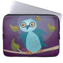 Wide-Eyed Owl in Moonlight Laptop Sleeve