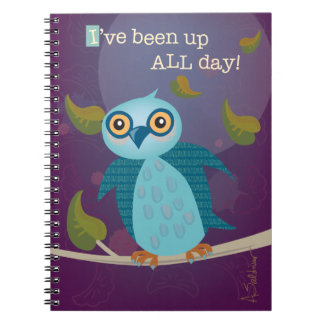 Wide-Eyed Owl in Moonlight Notebook