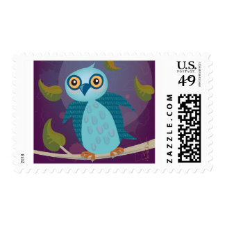 Wide-Eyed Owl in Moonlight Postage Stamps