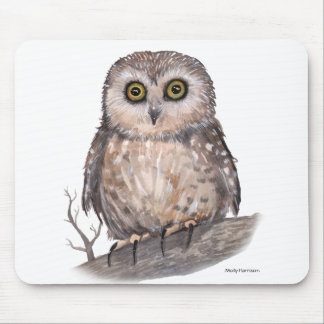 Wide Eyed Owl Wildlife Watercolor Art Mouse Pad