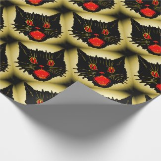 Wide Eyed Scaredy Cat Wrapping Paper