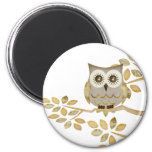Wide Eyes Owl in Tree 2 Inch Round Magnet