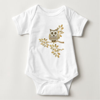 Wide Eyes Owl in Tree Baby Bodysuit