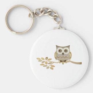Wide Eyes Owl in Tree Basic Round Button Keychain