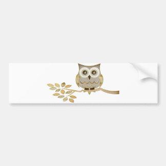 Wide Eyes Owl in Tree Bumper Sticker Car Bumper Sticker