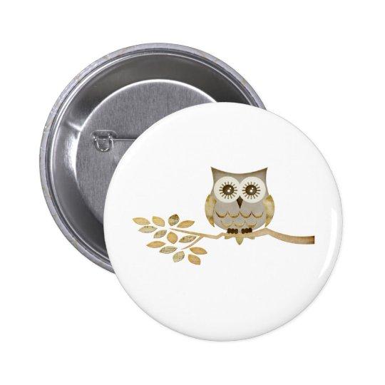 Wide Eyes Owl in Tree Button