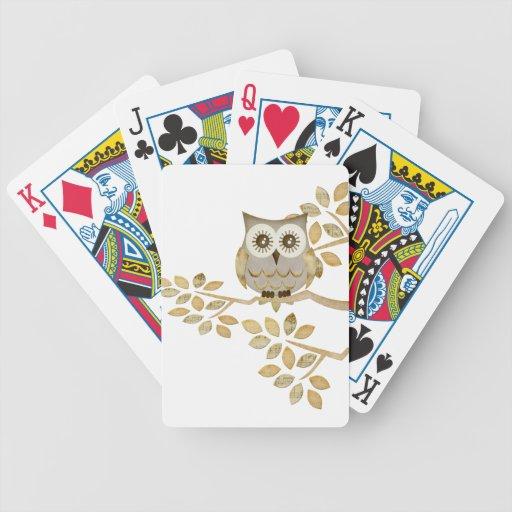 Wide Eyes Owl in Tree Card Decks