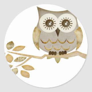 Wide Eyes Owl in Tree Classic Round Sticker
