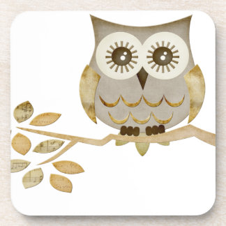 Wide Eyes Owl in Tree Cork Coaster