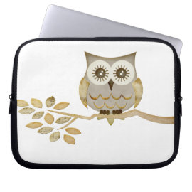 Wide Eyes Owl in Tree Electronics Bag Laptop Sleeve