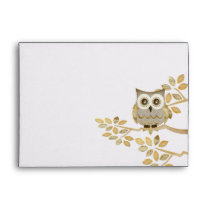Wide Eyes Owl in Tree Envelope