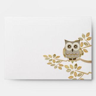 Wide Eyes Owl in Tree Envelope
