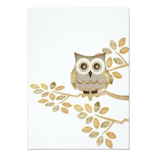 "Wide Eyes Owl in Tree Invitation 5"" X 7"" Invitation Card"