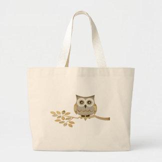 Wide Eyes Owl in Tree Jumbo Tote Bag