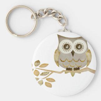 Wide Eyes Owl in Tree Keychain