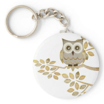 Wide Eyes Owl in Tree Keychain