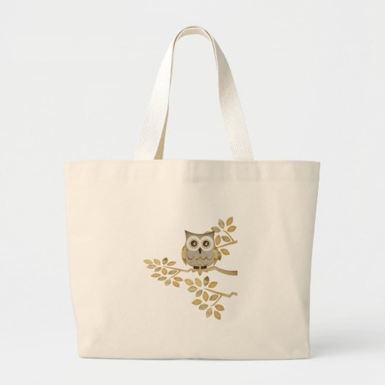 Wide Eyes Owl in Tree Large Tote Bag