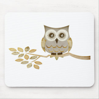 Wide Eyes Owl in Tree Mouse Pad