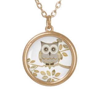 Wide Eyes Owl in Tree Necklace