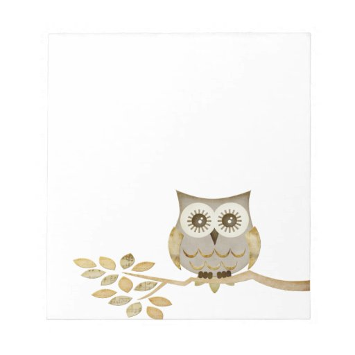 Wide Eyes Owl in Tree Notepad