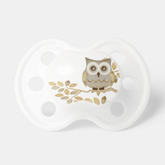 Wide Eyes Owl in Tree Pacifier