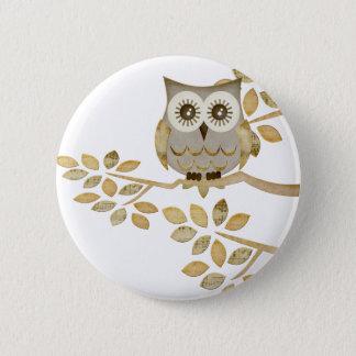 Wide Eyes Owl in Tree Pinback Button
