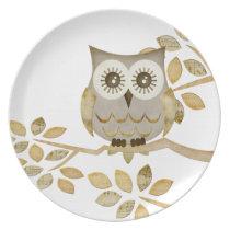 Wide Eyes Owl in Tree Plate