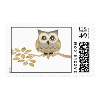 Wide Eyes Owl in Tree Postage