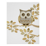 Wide Eyes Owl in Tree Poster