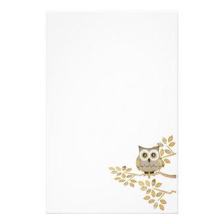 Wide Eyes Owl in Tree Stationery