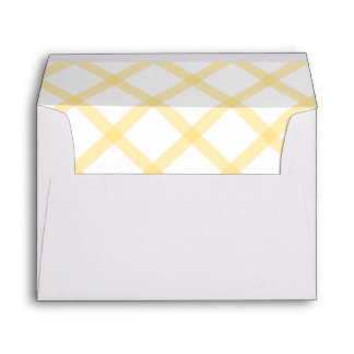 Wide Gingham Pattern Lined Envelope Yellow