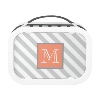 Wide Gray/White Stripes with Coral Monogram Lunch Box