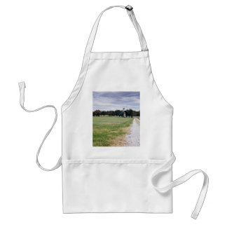 wide green meadow footpaths adult apron