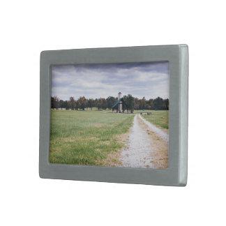 wide green meadow footpaths belt buckle