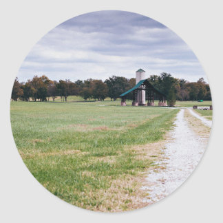 wide green meadow footpaths classic round sticker