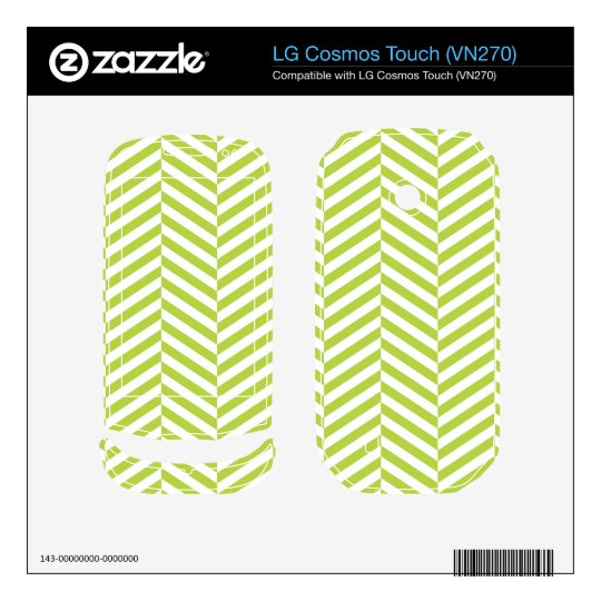wide Herringbone pattern in lime & white LG Cosmos Touch Skins