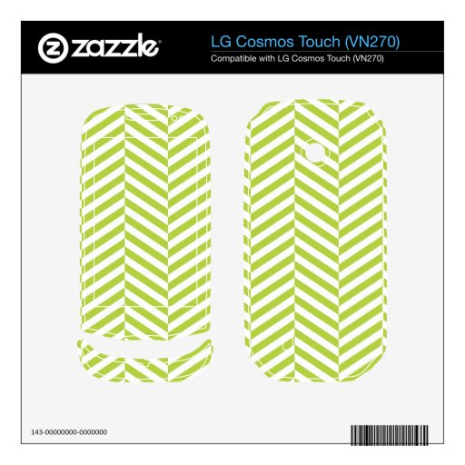 wide Herringbone pattern in lime & white LG Cosmos Touch Skin