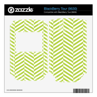 wide Herringbone pattern in lime white BlackBerry Tour Decal