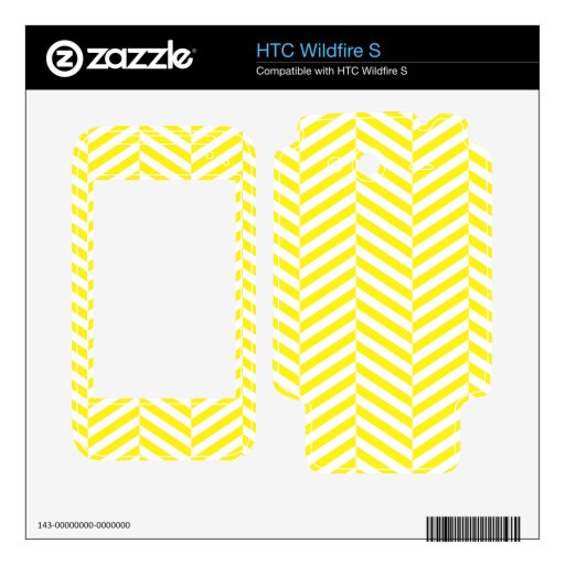 wide Herringbone pattern in yellow & white Skins For HTC Wildfire S