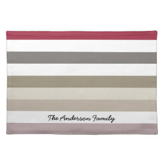 Wide Horizontal Stripes In Neutral Shades Place Mat