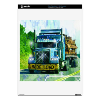 WIDE LOAD Blue Freight Truck Playstation 3 Skin PS3 Slim Console Skins