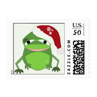 Wide Mouth Frog in a Santa Hat Postage