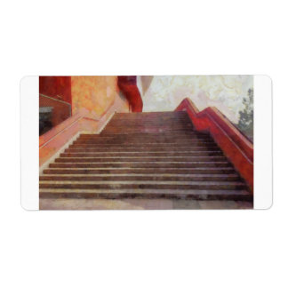 Wide open stairs label