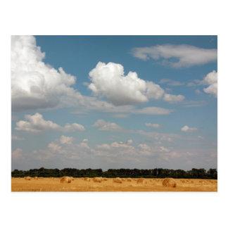 Wide open stubble field postcard