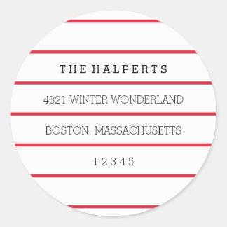 Wide Pinstripes   Red & White   Return Address Classic Round Sticker