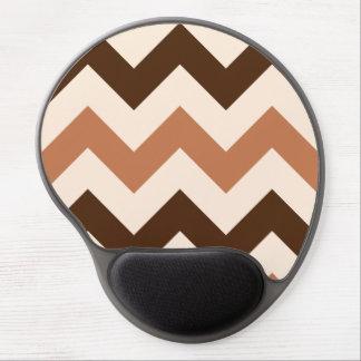 Wide Retro Zigzag Pattern Cream Rust & Brown Gel Mouse Pad
